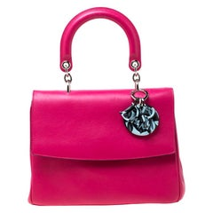 Dior Magenta Leather Small Be Dior Top Handle Bag