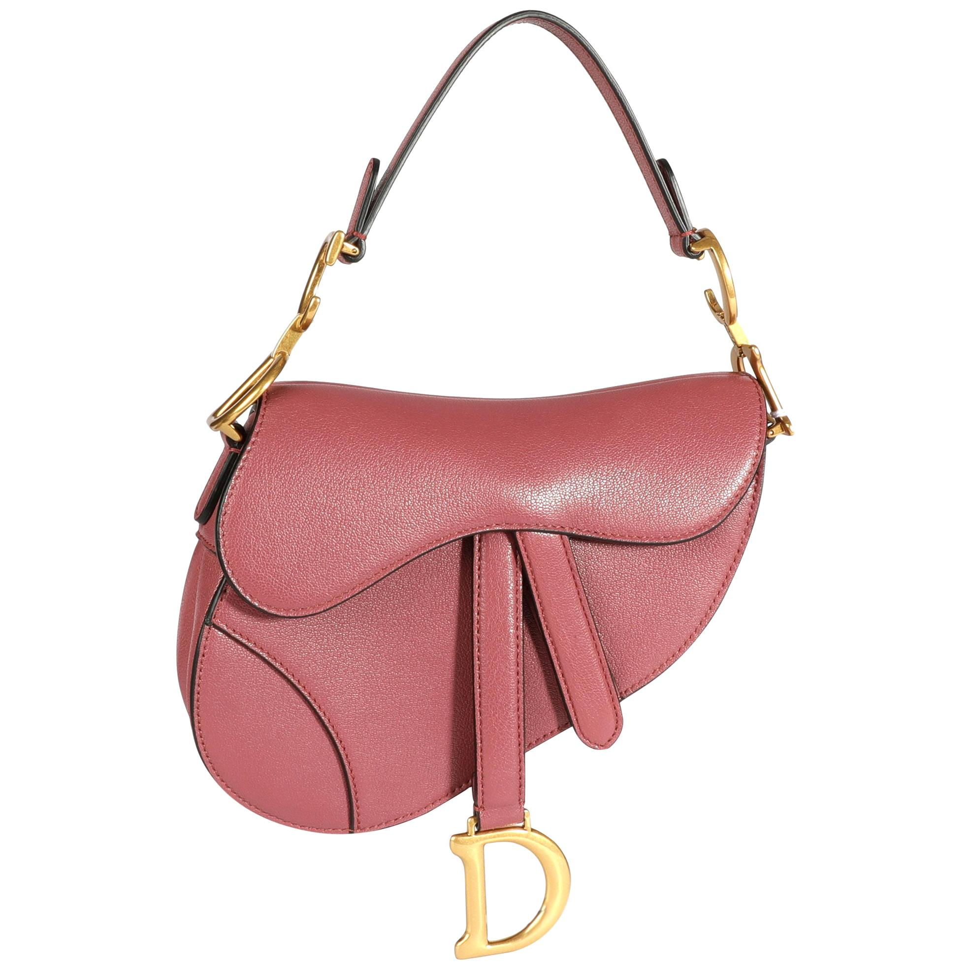 Dior Mallow Rose Shiny Goatskin Leather Mini Saddle Bag with Shoulder Strap