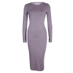 Dior Mauve Knit Bodycon Long Sleeve Maxi Dress S