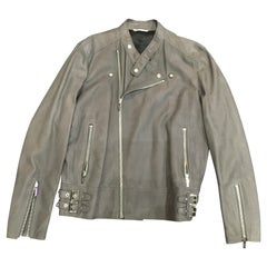 Dior Men's Grey Leather Jacket