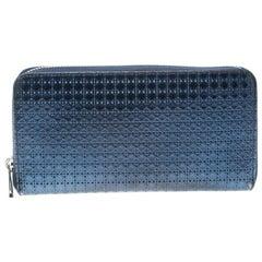 Dior Metallic Blue Cannage Patent Leather Zip Around Wallet