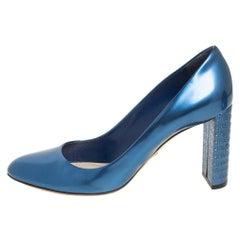 Dior Metallic Blue Leather Microcannage Block Heel Pumps Size 40