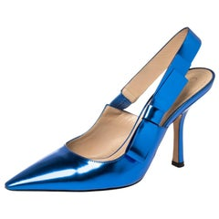 Dior Metallic Blue Leather Sweet-D Slingback Pumps Size 38
