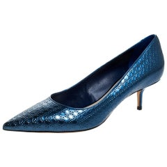Dior Metallic Blue Micro Cannage patent Leather Cherie Pointed Toe Pumps Size 40