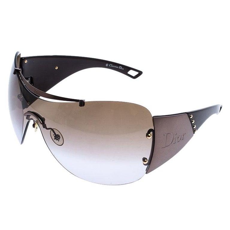 Dior Metallic/Brown Diorito 1Shield Sunglasses In Good Condition For Sale In Dubai, Al Qouz 2