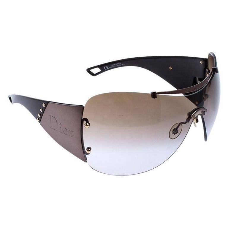 Dior Metallic/Brown Diorito 1Shield Sunglasses For Sale