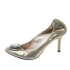 Dior Metallic Glitter Nubuck Round Logo Scrunch Pumps Size 36.5