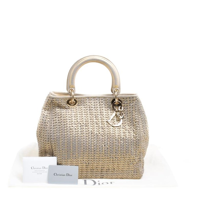 Dior Metallic Gold Woven Leather Medium Soft Lady Dior Tote 8