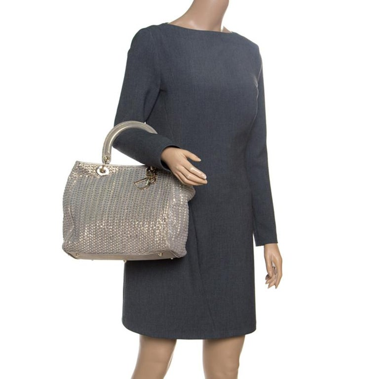 Dior Metallic Gold Woven Leather Medium Soft Lady Dior Tote In Excellent Condition In Dubai, Al Qouz 2