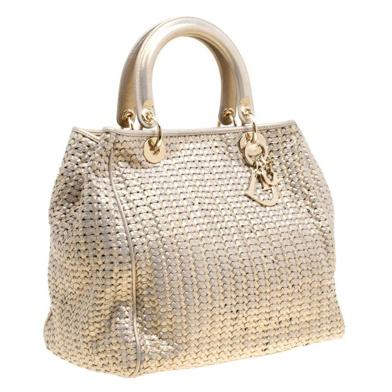 Women's Dior Metallic Gold Woven Leather Medium Soft Lady Dior Tote