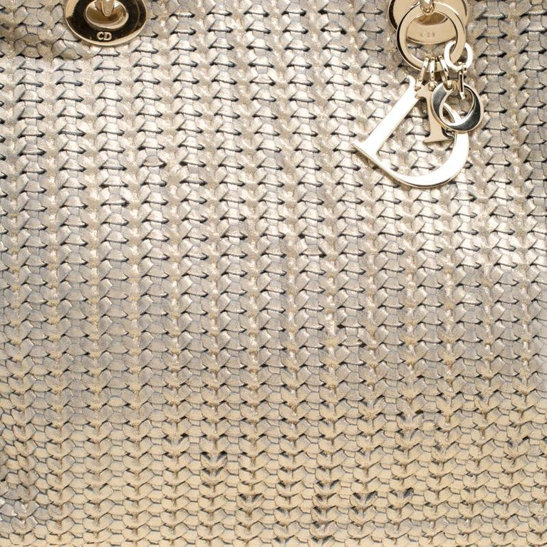Dior Metallic Gold Woven Leather Medium Soft Lady Dior Tote 2
