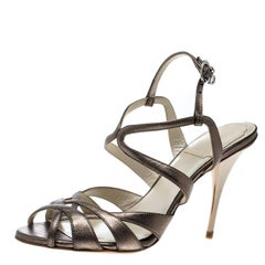 Dior Metallic Grey Leather Strappy Sandals Size 36