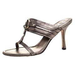 Dior Metallic Leather T Strap Slide Sandals Size 37