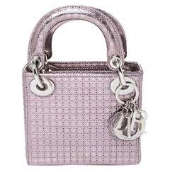 Dior Metallic Light Purple Micro Cannage Leather Micro Lady Dior Tote