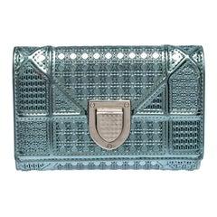 Dior Metallic Micro Cannage Leather Diorama Wallet