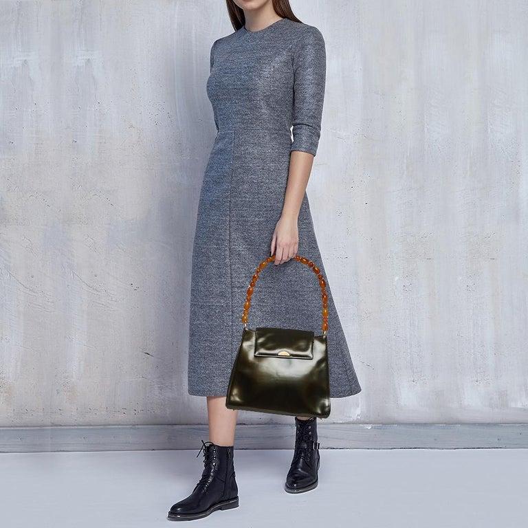 Black Dior Metallic Olive Green Glossy Leather Vintage Malice Pearl Shoulder Bag For Sale