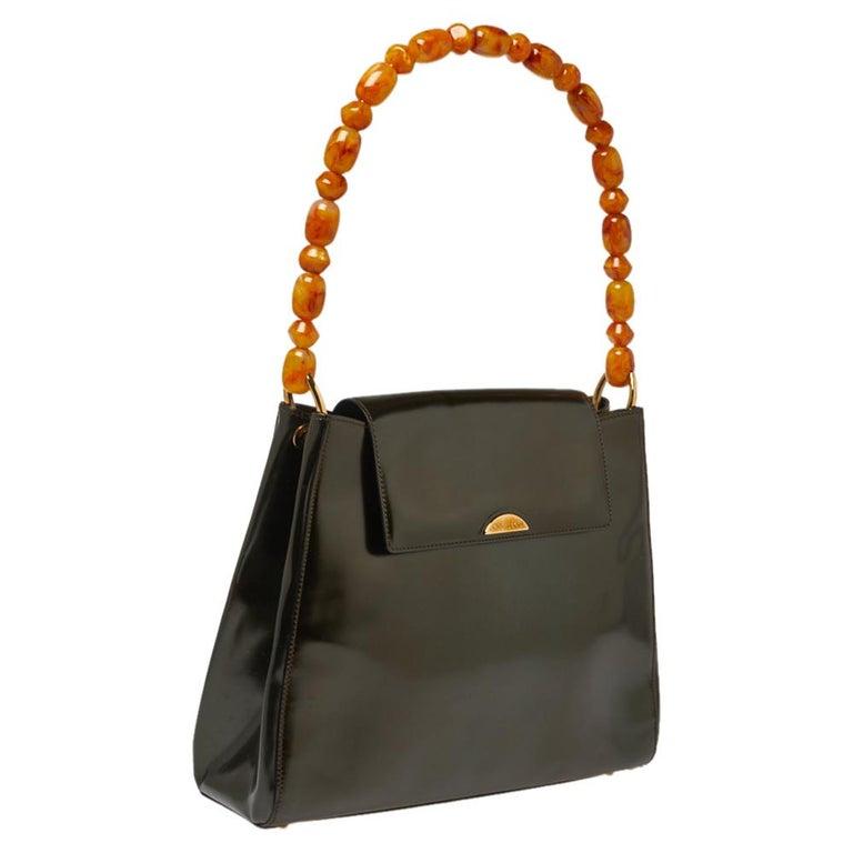 Dior Metallic Olive Green Glossy Leather Vintage Malice Pearl Shoulder Bag In Good Condition For Sale In Dubai, Al Qouz 2