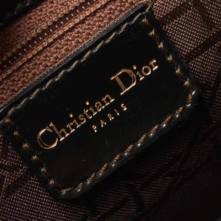 Dior Metallic Olive Green Glossy Leather Vintage Malice Pearl Shoulder Bag For Sale 1