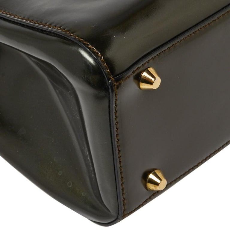 Dior Metallic Olive Green Glossy Leather Vintage Malice Pearl Shoulder Bag For Sale 2