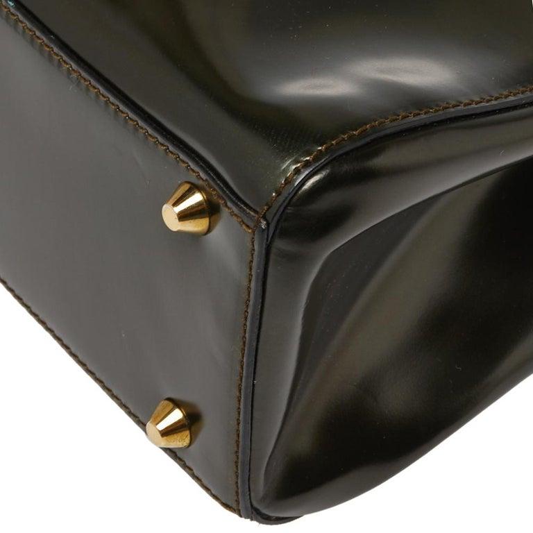 Dior Metallic Olive Green Glossy Leather Vintage Malice Pearl Shoulder Bag For Sale 3