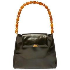 Dior Metallic Olive Green Glossy Leather Vintage Malice Pearl Shoulder Bag