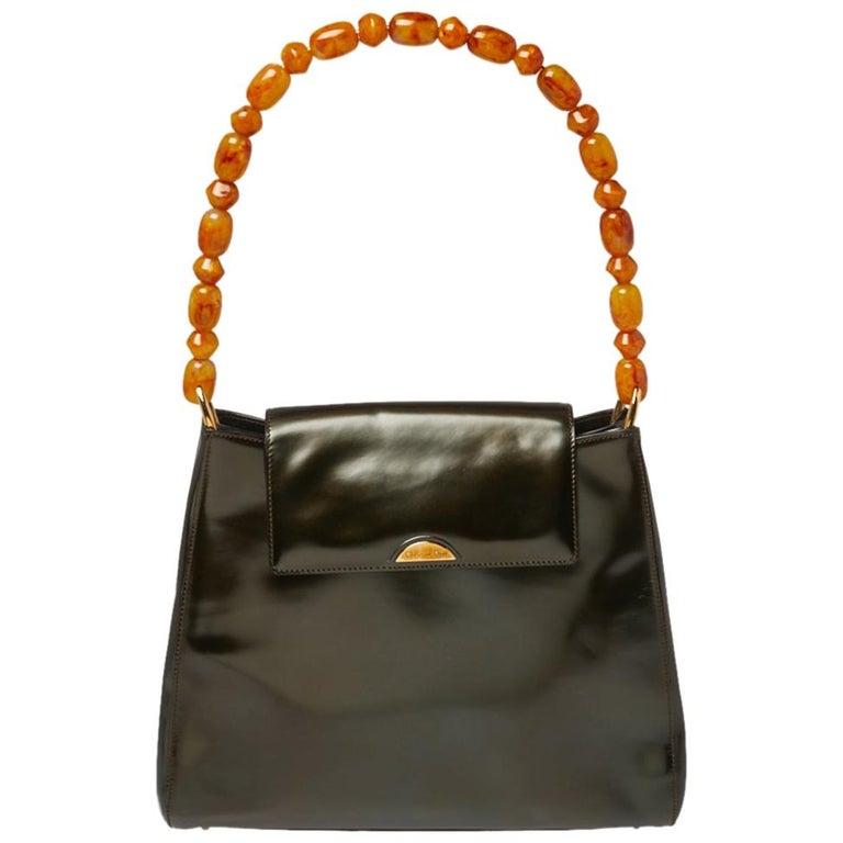 Dior Metallic Olive Green Glossy Leather Vintage Malice Pearl Shoulder Bag For Sale