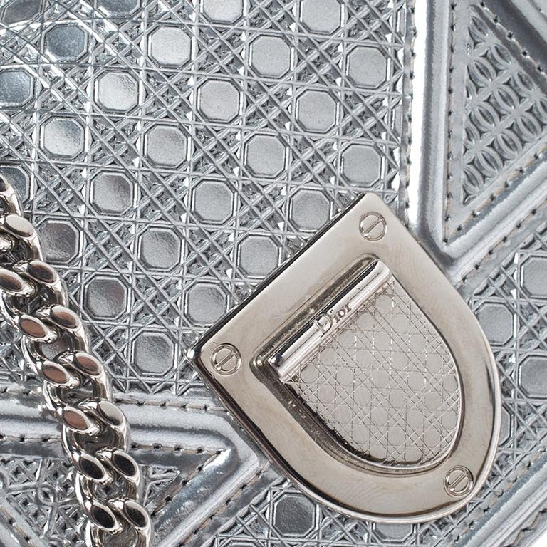 Dior Metallic Silver Cannage Patent Leather Baby Diorama Shoulder Bag 6