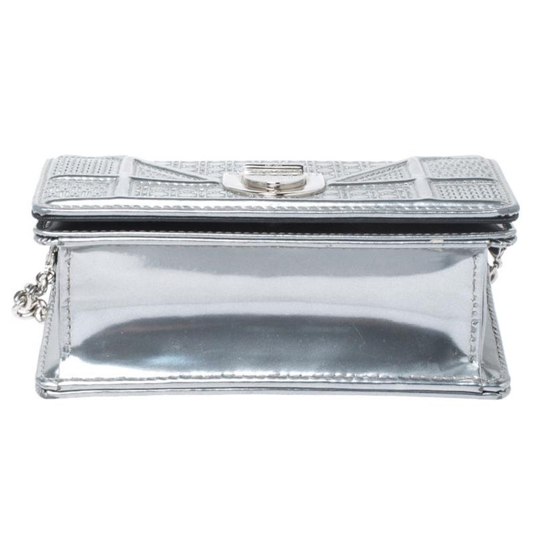 Women's Dior Metallic Silver Cannage Patent Leather Baby Diorama Shoulder Bag