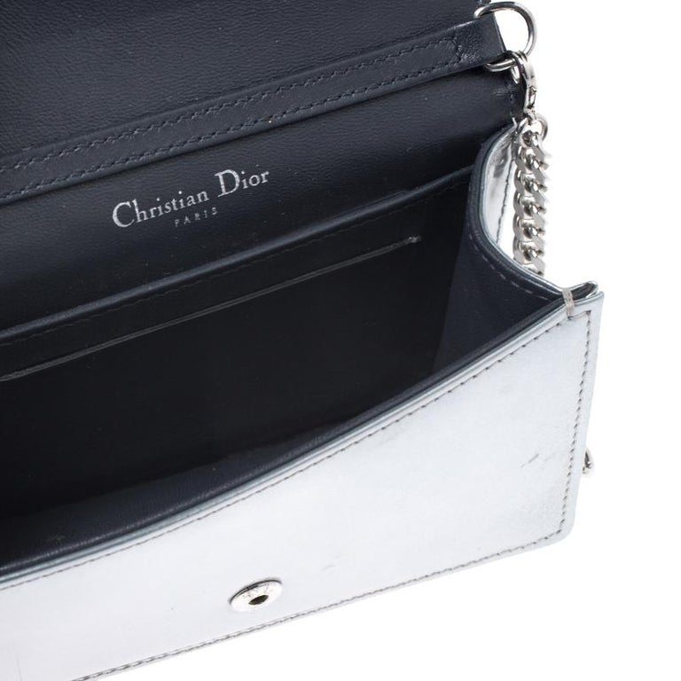 Dior Metallic Silver Cannage Patent Leather Baby Diorama Shoulder Bag 2
