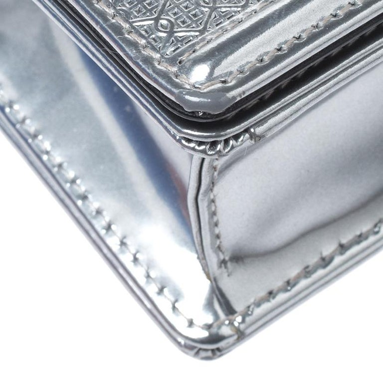 Dior Metallic Silver Cannage Patent Leather Baby Diorama Shoulder Bag 4
