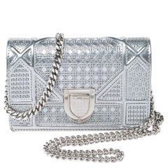 Dior Metallic Silver Cannage Patent Leather Baby Diorama Shoulder Bag