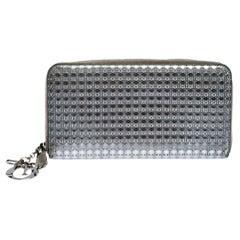 Dior Metallic Silver Cannage Patent Leather Zip Around Wallet