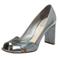 Dior Metallic Silver Leather Criss Cross Cannage Heel Sandals Size 36.5