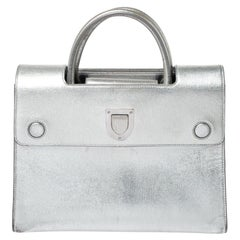 Dior Metallic Silver Leather Medium Diorever Bag