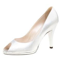 Dior Metallic Silver Leather Peep Toe Pumps Size 37