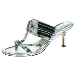 Dior Metallic Silver Leather T Strap Slide Sandals Size 36
