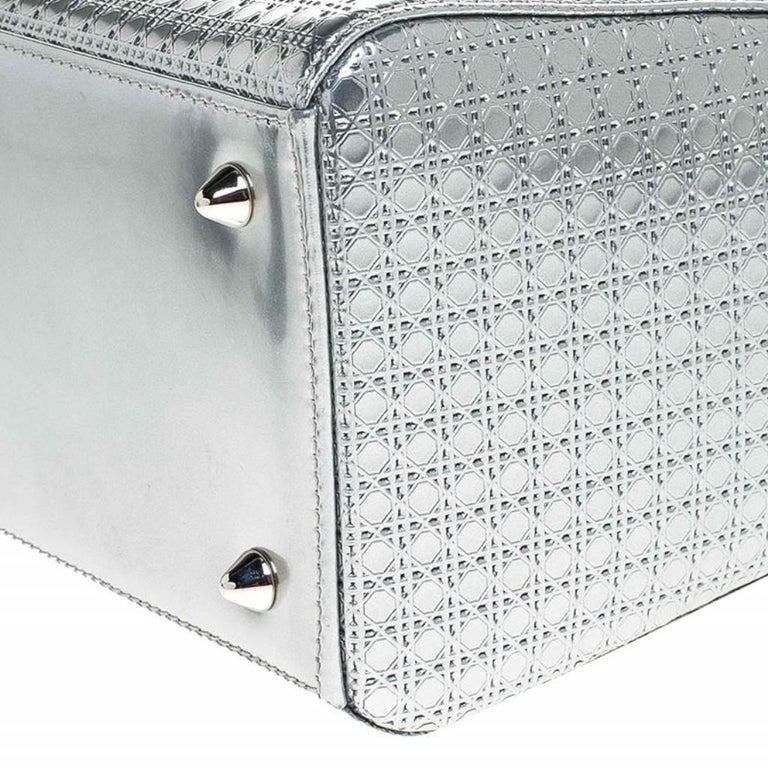 Dior Metallic Silver Micro Cannage Patent Leather Lady Dior Tote For Sale 7