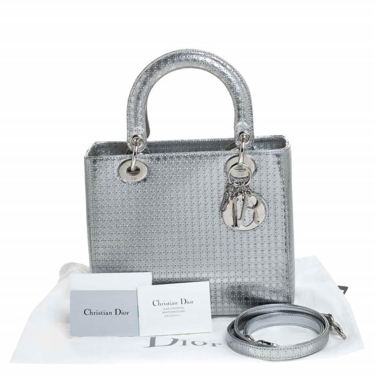 Dior Metallic Silver Micro Cannage Patent Leather Lady Dior Tote For Sale 8