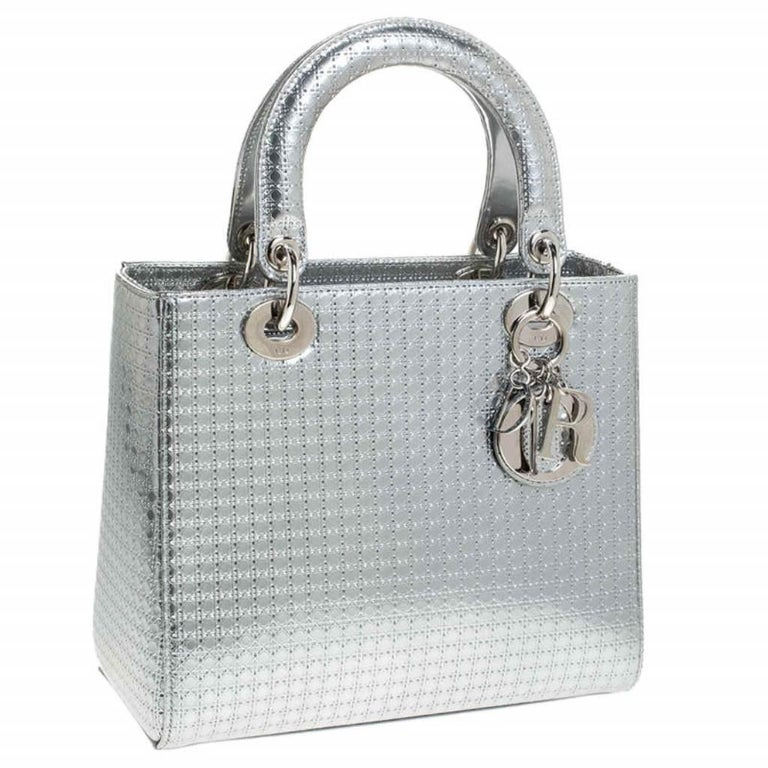 Women's Dior Metallic Silver Micro Cannage Patent Leather Lady Dior Tote For Sale