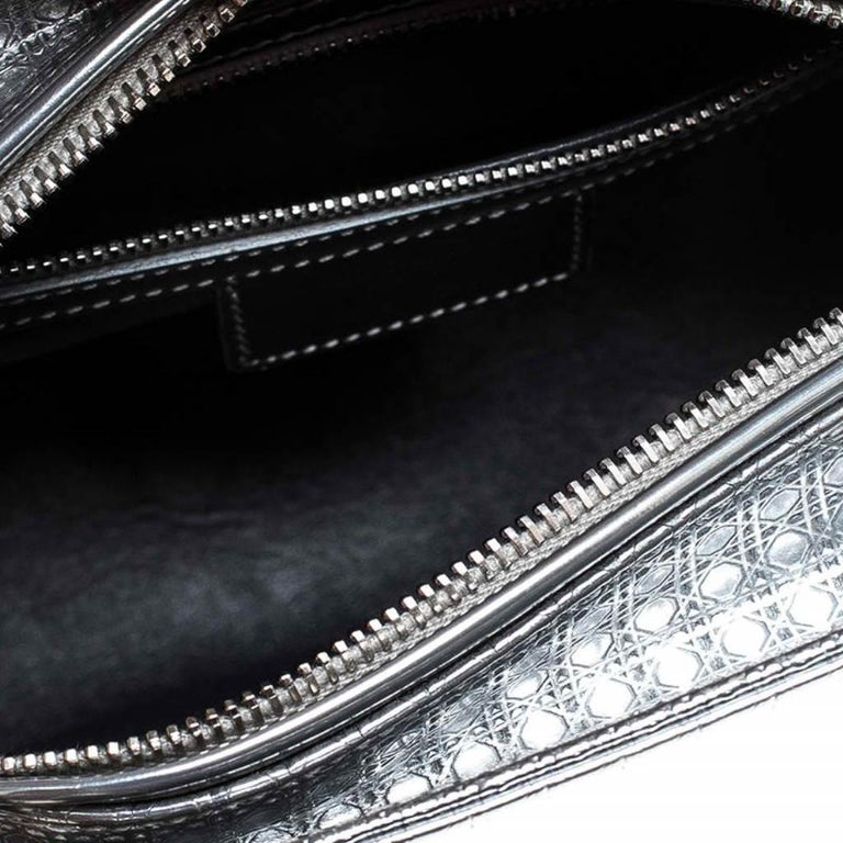 Dior Metallic Silver Micro Cannage Patent Leather Lady Dior Tote For Sale 4