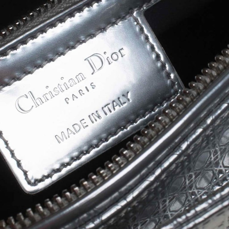 Dior Metallic Silver Micro Cannage Patent Leather Lady Dior Tote For Sale 5