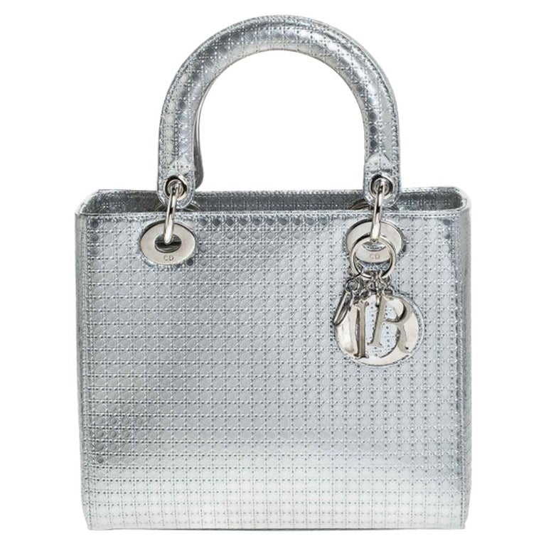 Dior Metallic Silver Micro Cannage Patent Leather Lady Dior Tote For Sale