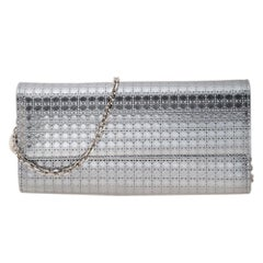 Dior Metallic Silver Microcannage Patent Leather Croisiere Wallet On Chain