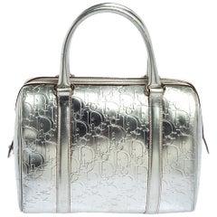 Dior Metallic Silver Oblique Monogram Leather Boston Bag
