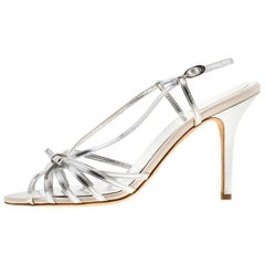 Dior Metallic Silver Slingback Strappy Sandals Size 40
