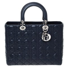 Dior Midnight Blue Cannage Leather Large Lady Dior Tote