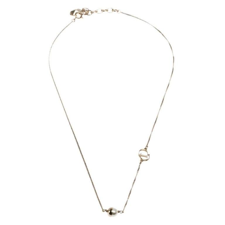 Dior Mise en Dior Faux Pearl Gold Tone Necklace For Sale