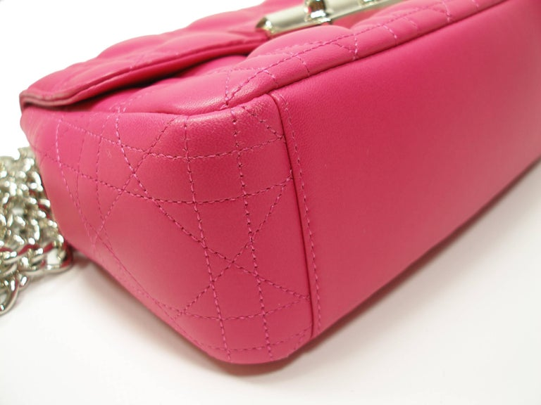 Aboluty New Wonderfull BAG Miss Dior  Leather cannage  Pink color and palladium hardware Small size L 19 x H 14 x P 5 cm  Its comes with Dior Dustbag & key