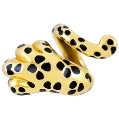 Dior Mitza Yellow Gold Leopard Paw Wrap Ring