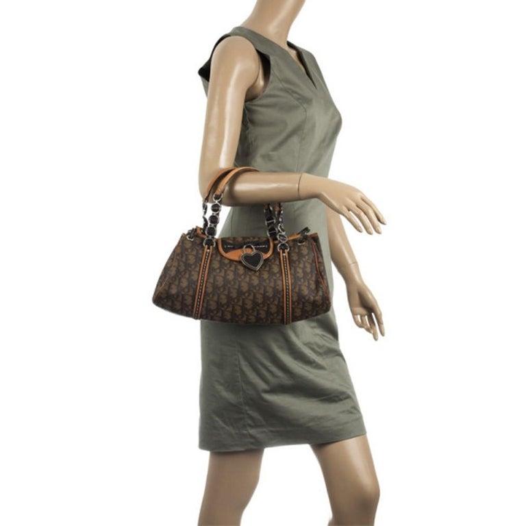 Brown Dior Monogram Trotter Romantique Satchel For Sale